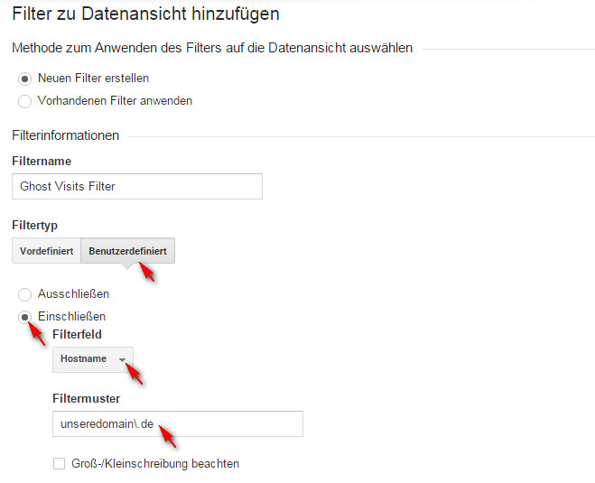Google Analytics - Ghost Visits Filter Einstellungen