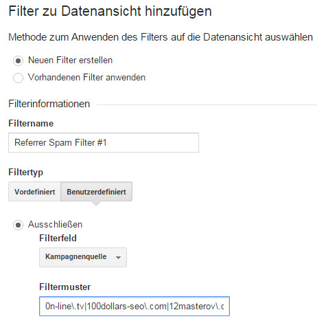 Google Analytics Referrer Filter