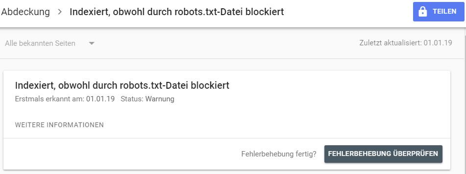 indexiert, obwohl durch robots.txt-Datei-blockiert